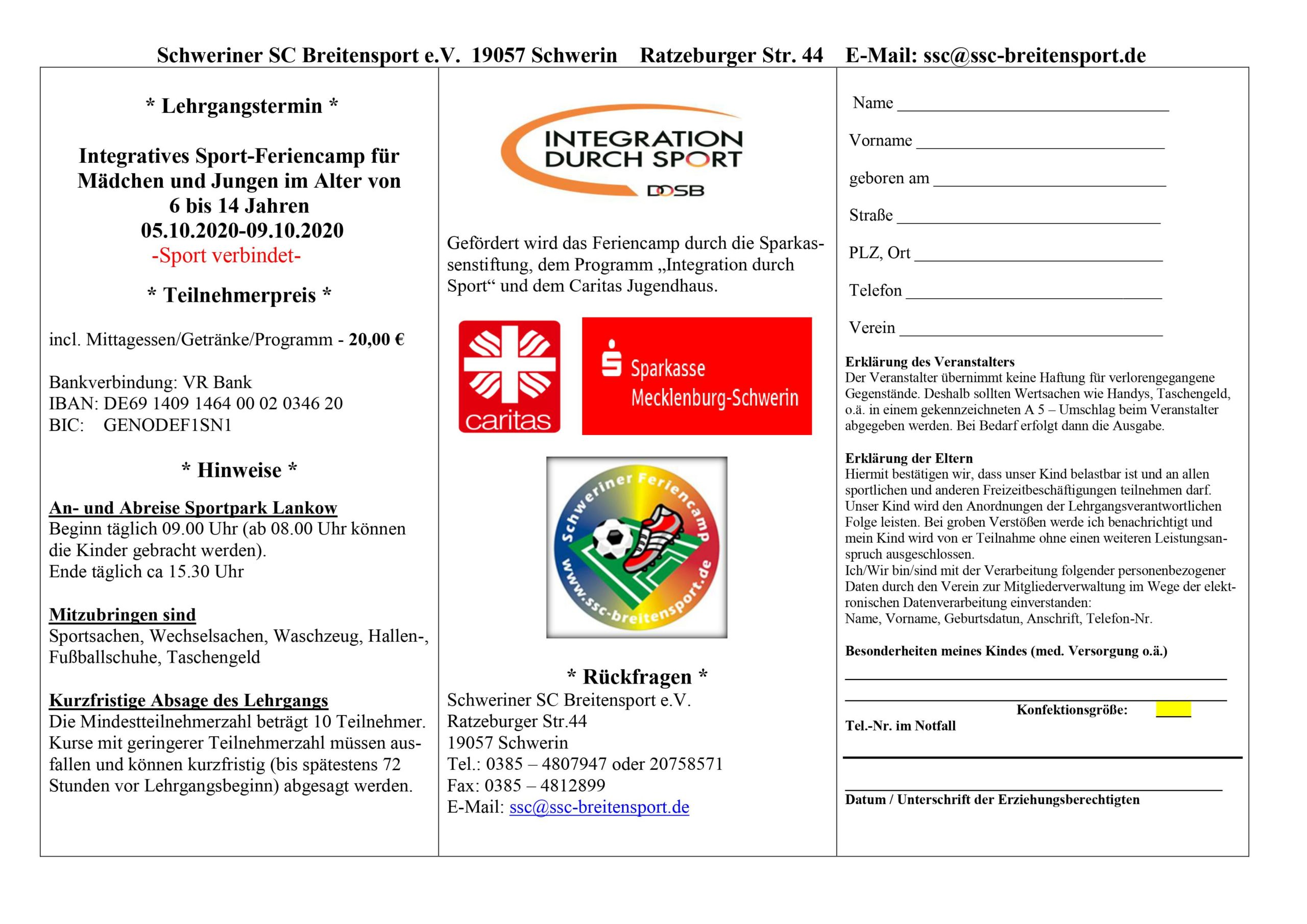 Integratives Sport-Feriencamp @ Sportpark Lankow